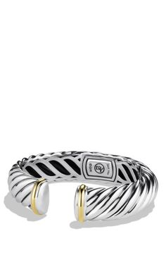 Free shipping and returns on David Yurman 'Waverly' Bracelet with Gold at Nordstrom.com. Sterling silver and 18-karat yellow gold. Cable, 15mm wide. Hinge opening. By David Yurman; imported.