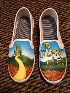 Wizard of oz hand painted shoes by lizcraftsandart on Etsy