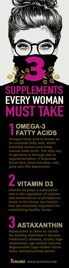 3 supplements every woman should take. DHA Omega 3, Vitamin D3 & Astaxanthin. DHA is now recognized as a superior nutrient for cardiovascular health, cognitive function, memory, mood, learning, vision quality (including protection against macular degeneration), bone health, fertility, cancer prevention, inflammation reduction and weight loss support. Click the link to learn how to get optimal amounts of each nutrient daily.