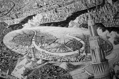 New Infinitely Detailed Pen & Ink Cityscapes by Ben Sack