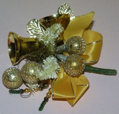 1950s Christmas Corsage with brush trees, mercury balls and more Made in Japan