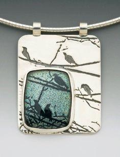 Pendant | Daria Salus.  Sterling silver and enamel