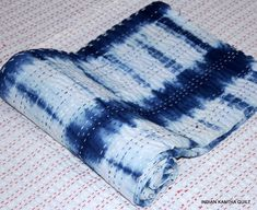 Excited to share the latest addition to my shop: Vintage Kantha quilt indigo Hand Stitched Quilt, Indian Cotton, Bohemian Boho hand Printed tie-dye Coverlet Twin Size, IKQTD Tie Dye Bedding, Restoration Hardware Bedding, Hand Printed Fabric, Kantha Quilt, Cotton Quilts, Hand Stitching, Indigo, Twin, Bohemian