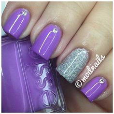 Lavender high gloss polish with rhinestone embellishment and silver glitter accent nail.