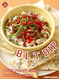 Grab a chip and hit the dip! Your guests will eat up this BLT Dip + homemade Tortilla Chips before the coin toss even happens on Game Day!