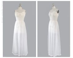 1950s vintage long white night gown