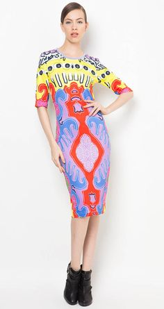 Sketsa Dress by Billy Tjong for Zalora. In various colors, mostly purple, blue and red. Made of spandex material. Billy Tjong mixed the playful and feminine side at the same time. The collection is presented in contemporary and pop art touch. http://www.zocko.com/z/JFewQ