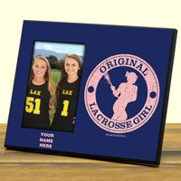 """Our 8"""" X 10"""" lacrosse photo frame features a 4"""" X 6"""" opening to fit a photo/medal of your choice."""