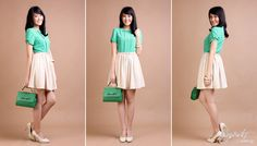 Prim and bow blouse in shamrock green