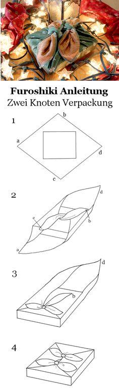 Geschenkverpackung mit Furoshiki - Zwei Knoten Verpackung #Furoshiki