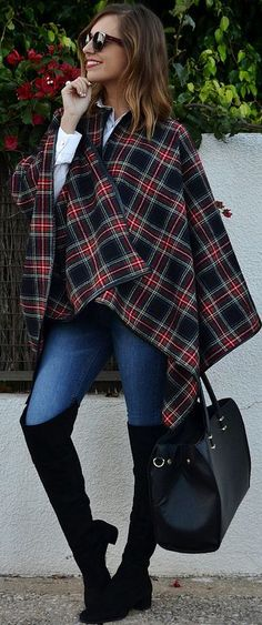 Tartan Plaid Cape Fall Street Style Inspo #Be Iconic