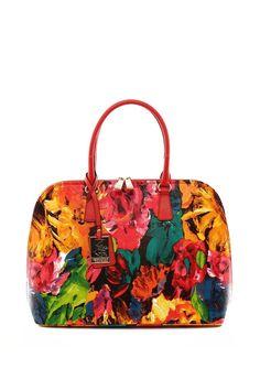 Beverly Hills Polo Club Red/Green/Fuchsia/Yellow/Dark Blue Floral Print Doctor Bag   Brandsfever
