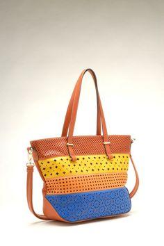 Lazer Cut Multi Color Handbag