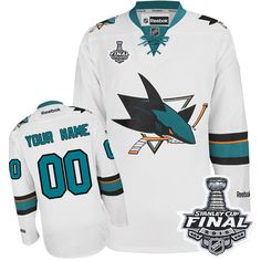 Men s Reebok San Jose Sharks Customized Authentic White Away 2016 Stanley  Cup Final Bound NHL Jersey 96f4f5f6c