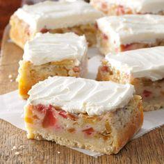 Rhubarb Custard Bars Recipe from Taste of Home -- shared by Shari Roach of South Milwaukee, Wisconsin
