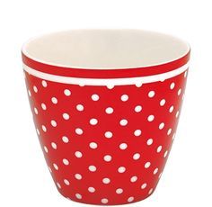 GreenGate Stoneware Latte Cup Spot Red