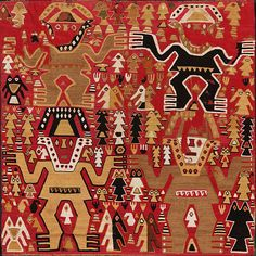 Chimú style (1350 - 1450)  Ceremonial textile Slit tapestry in cotton and camelid fibre (1350 AD - 1450 AD)  Dimensions Height: 26.77 in. Width: 26.77 in.  Current location	MALI, Museo de Arte de Lima