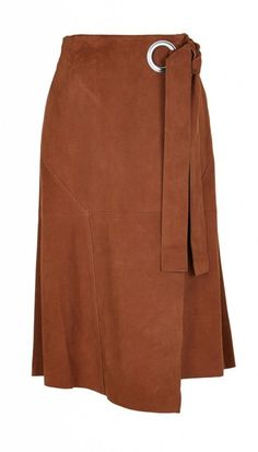 Channel the trend that is gaining momentum for fall. The tonal suede wrap midi skirt is a staple piece to achieve the look. Cut with a wrap-around effect and ultra-soft suede to provide movement, the skirt looks lovely with shades of cream and nav Blouse And Skirt, Skirt Pants, Dress Skirt, Midi Skirt, Skirt Outfits, Cool Outfits, Fashion Week, Womens Fashion, Steampunk Fashion