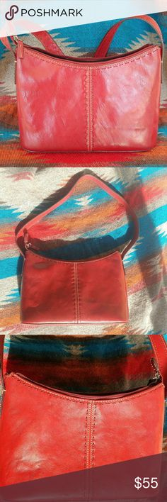 Red Leather Fossil Handbag In perfect condition. Genuine leather. Fossil Bags Shoulder Bags