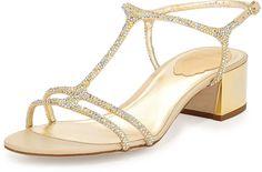 Rene Caovilla Crystal T-Strap City Sandal