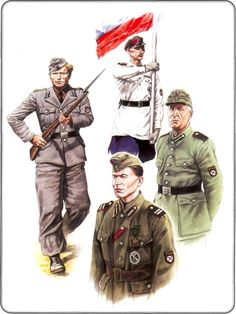 Russian Liberation Army  1. The non-commissioned officer - cadet school Dabendorfskoy propagandists, 1943-1944.    2. ROA propagandist, 1943-1944.    3. Soldier Guards Brigade ROA, 1943    4. The commander of the infantry battalion of the Guards Brigade ROA captain GP Lamsdorf, 1943
