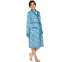 Carole Hochman Floral Fields & Geo Cotton Wrap Robe