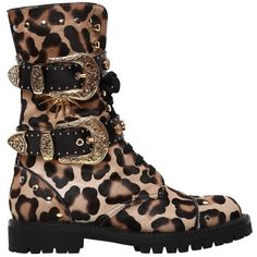 Fausto Puglisi Women 30mm Leo Printed Ponyskin Combat Boots (3.820 RON) ❤ liked on Polyvore featuring shoes, boots, leopard, leopard boots, studded boots, leopard print combat boots, short heel boots and low-heel boots