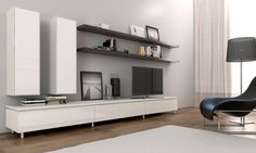 A lovely modern contemporary entertainment and storage composition combining the elegant Cleanline entertainment unit with floating shelves and vertical storage units from our range Entertainment Center Redo, Entertainment Units, Cube Storage Unit, Diy Tv Stand, Vertical Storage, Tv Consoles, Tv Stands, Ikea Hacks, Built Ins