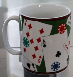 222 FIFTH PLAYING CARDS JUMBO COFFEE CUP MUG GREEN RED BLACK WHITE PORCELAIN NEW  | eBay
