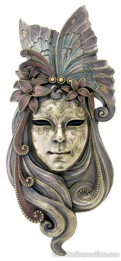 Venetian Mask Wall Plaque - Butterfly - Cold Cast Bronze