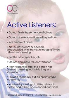 Active listeners—relevant to working with all people, not just kids! Play Based Learning, Early Learning, Learning Activities, Reflective Listening, Reflective Practice, Eylf Learning Outcomes, Mental Health Assessment, Emergent Curriculum, Teaching Strategies