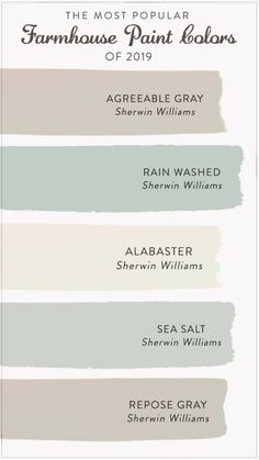 master bedroom paint colors Find the most popular farmhouse paint colors of From alabastar to agreeable gray, check out our list to help you decide the best color for y Farmhouse Paint Colors, Paint Colors For Home, Small Bedroom Paint Colors, Best Bathroom Paint Colors, Coastal Paint Colors, Basement Paint Colors, Office Paint Colors, Colors For Kitchen Walls, Popular Kitchen Colors