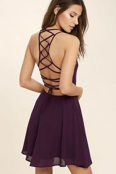 Reward your good behavior with a treat like the Good Deeds Purple Lace-Up Dress! Dreamy, lightweight Georgette sweeps across a princess-seamed bodice and strappy apron neckline, plus a lacing open back. Full skater skirt has a bit of elastic at back. Hidden back zipper.