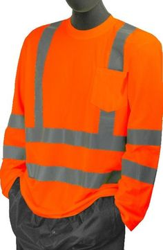Majestic 75-5356 Hi Vis Orange Long Sleeve T-Shirt ANSI Class 3 Pocket