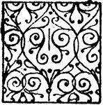 "Damaskeening with scrollwork used in heraldry. ""Damaskeening is the name given to minute decoration intended to enliven the various tinctures without interfering with the effect of the colours or altering the coat."" -Whitney, 1911"