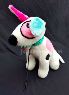 """Vintage 1987 Rude Dog Clothing Plush 16"""" Inch Pink And Blue Ears Commonwealth  #Comonwealth"""