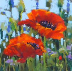 """Daily Paintworks - """"Up Close and Personal with Wildflowers...The Red Poppy"""" - Original Fine Art for Sale - © Karen Margulis"""