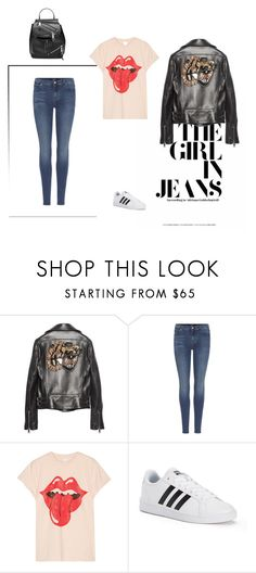 """""""Gucci  Tiger leather jacket"""" by gabriela2105 ❤ liked on Polyvore featuring Gucci, 7 For All Mankind, MadeWorn, adidas and Marc Jacobs"""