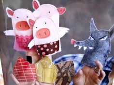 "Pattern for Felt FAIRYTALE ""The 3 Little Pigs"" Finger Puppets"