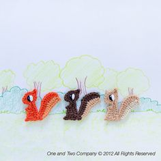 Instant Download - PDF Crochet Pattern - Squirrel Applique - Text instructions and SYMBOL CHART instructions