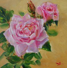 Olieverf New Dawn Rose, maat 15x15 cm op Ampersand board te koop. Email mij bij interesse.