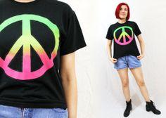 1990s PEACE SIGN Black Small/Medium TShirt by LoveologyVintage, $16.00