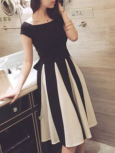 Boat Neck Bowknot Top And Color Block Flared Midi Skirt
