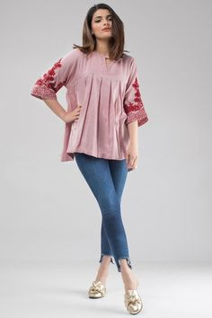 Khaadi Ready to Wear Western Pleated Top for Women with embroidered sleeves. Besides you can Wear this Girls Shirt with a Denim tight to adorn the look. Pakistani Fashion Casual, Pakistani Dresses Casual, Pakistani Dress Design, Indian Dresses, Indian Fashion, Stylish Dresses For Girls, Simple Dresses, Kurta Designs Women, Blouse Designs