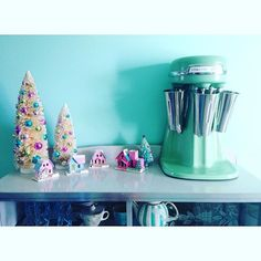 Finally getting a chance for The houses were a gift from Milkshake Maker, Hamilton Beach, Aqua, Turquoise, Putz Houses, Vintage Christmas, Christmas Decorations, Instagram Posts, Gifts