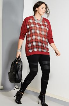 Two by Vince Camuto Tartan Front Sweatshirt & Moto Leggings (Plus Size)  available at #Nordstrom