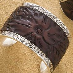 Silver and hand tooled leather cuff - wow!!!