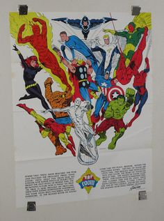This RARE 1973 MARVEL FOOM FAN CLUB POSTER features art by JIM STERANKO, who was put in charge of Marvel's FOOM membership kit artwork. This '73 poster was folded during distribution to club members (which is normal), and it shows the following Marvel Universe characters: The Amazing Spiderman, the Avengers (Captain America, Thor, Iron Man, the Vision), Hulk, the Silver Surfer, Daredevil, the Fantastic Four (Mr Fantastic, the Human Torch, the Thing), Daredevil's ally the Black Widow,