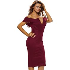 Burgundy Sexy V Neck Off-the-shoulder Midi Dress (39 BAM) ❤ liked on Polyvore featuring dresses, v-neck dresses, purple midi dress, calf length dresses, purple off the shoulder dress and purple dress