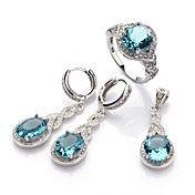Fashion 925 Silver Plated Copper Blue Zircon ... – USD $ 32.79